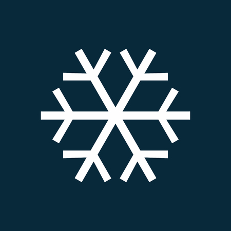 White snowflake simple icon vector illustration isolated on blue background