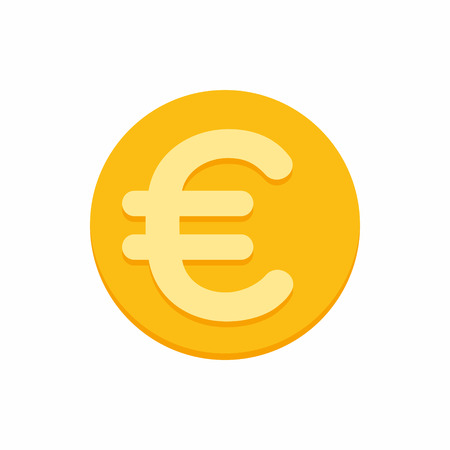 Euro currency symbol on gold coin, money sign flat style vector illustration isolated on white background  イラスト・ベクター素材