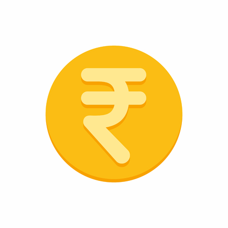 Indian rupees currency symbol on gold coin, money sign flat style vector illustration isolated on white background 矢量图像