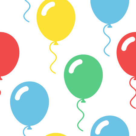 Colorful balloons seamless pattern in simple flat style vector illustration on white background