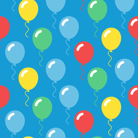 Colorful balloons seamless pattern in simple flat style vector illustration on blue background
