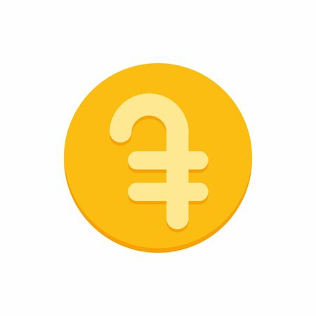 Armenian dram currency symbol on gold coin, money sign flat style vector illustration isolated on white background