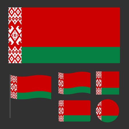 A simplified for a small size flag of Belarus, a set of flags of various sizes, proportions and shapes, can be used as icons for web and applications