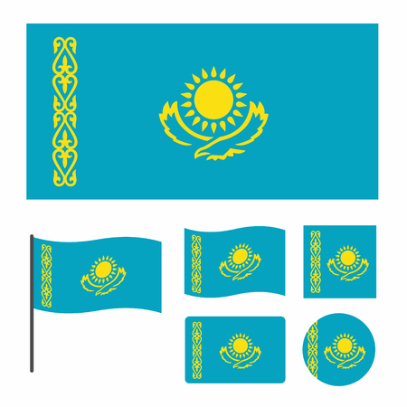 A simplified for a small size flag of Kazakhstan, a set of flags of various proportions and shapes, can be used as icons for web and applications, vector illustartion isolated on white background  イラスト・ベクター素材