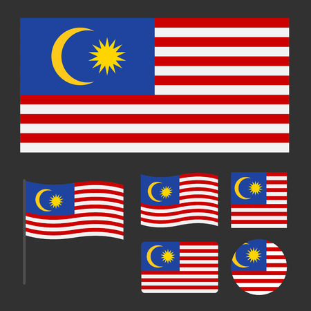 Flag of Malaysia with various sizes, proportions and shapes, can be used as icons for web and applications