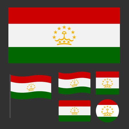 Flag of Tajikistan with various sizes, proportions and shapes, can be used as icons for web and applications