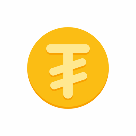 Mongolian tugrik symbol on gold coin, money sign flat style vector illustration isolated on white background