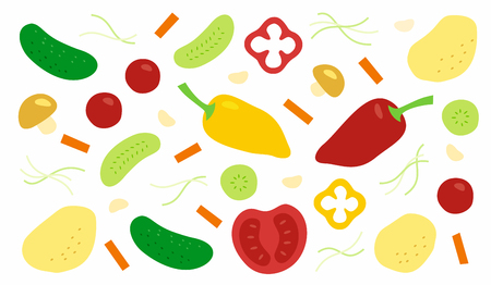 Vegetables, tomatoes, cucumbers, peppers, potatoes and mushrooms whole and sliced, vector illustration in simple style isolated on white background  イラスト・ベクター素材