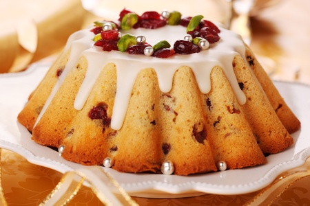 Christmas cake with with candied fruits photo