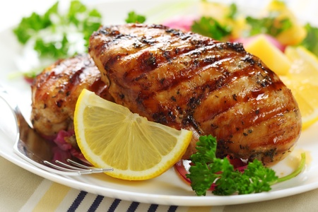 chicken breast: Grilled chicken breast with warm corn and potato salad