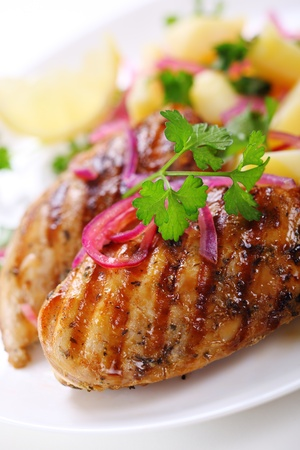 Grilled chicken breast on white plate Stock Photo - 13170320
