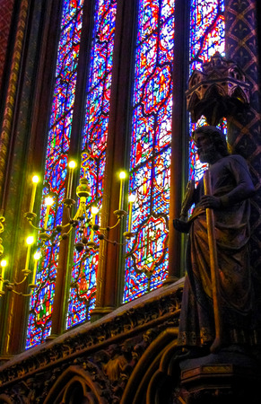 stain glass: Stain glass of Sainte Chapelle  Paris France