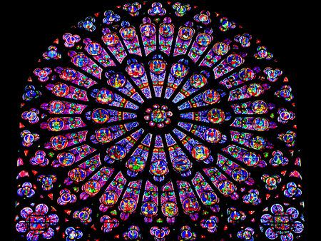 Roosvenster van de Notre Dame in Parijs Frankrijk