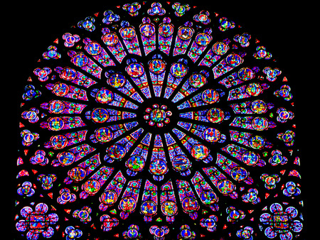 Rose Window of Notre Dame  Paris France Editorial