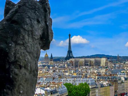corcovado: Punto de una g�rgola de vista de Notre Dame de Par�s Francia