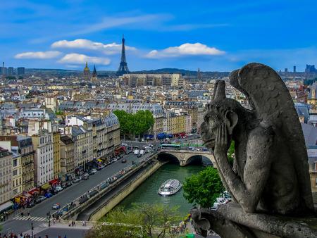 corcovado: Vista a�rea de Par�s Las g�rgolas de Notre Dame de Par�s Francia Foto de archivo