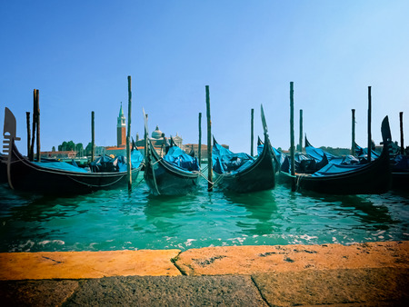 saint marks: Gondolas of Venice  Saint Marks Square  Venice Italy Stock Photo
