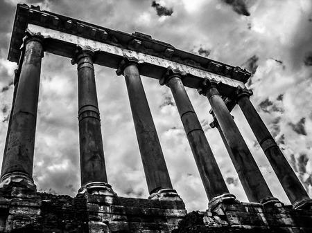 severus: Temple of Saturn  Roman Forum  Black and White   Rome Italy