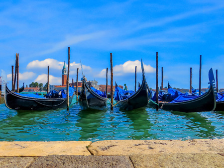saint marks square: Gondolas of Venice  Saint Marks Square  Venice Italy Stock Photo