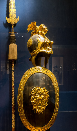 artifact: New York City The Met - Shield and Helmet Artifact Editorial