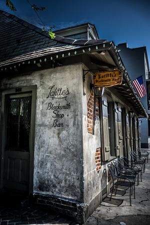 bourbon street: New Orleans Bourbon Street Blacksmith Bar Stock Photo