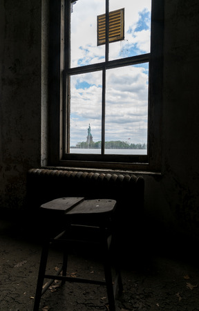 infirmary: New York City Ellis Island Room With a View of Statue of Liberty Stock Photo