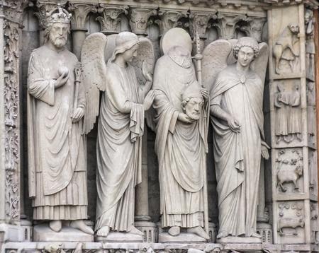 beheaded: Paris, France - Notre Dame-Beheaded Saint Dennis Statue