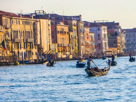gondoliers: Venice, Italy - Grand Canal - Gondoliers Editorial