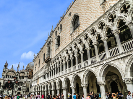 winged lion: Venice, Italy -  Doges Palace Facade & St Marks Bascilica
