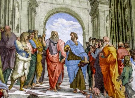 バチカン市国 - バチカン美術館 Raphaels 学校アテネの 報道画像