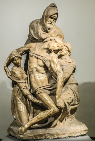 Florence, Italy - Duomo Museum - Michelangelos Pieta with Self Sculpture Editorial