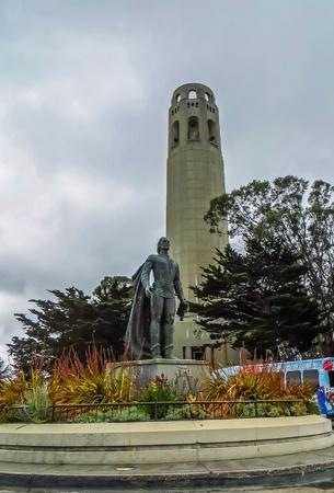 San Francisco, CA USA - San Francisco Coit Tower and Christopher Columbus Statue Editorial