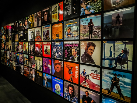 Nashville, TN USA - Johnny Cash Museum Wall of Albums
