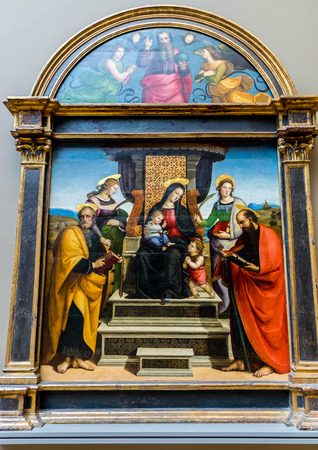 enthroned: New York City The Met - Raphael - Madonna and Child Enthroned with Saints