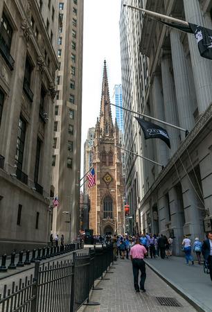 New York City Trinity Church View From Wall Street