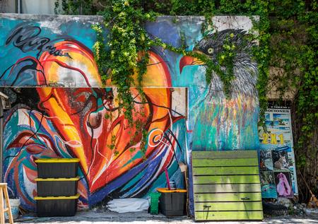 Colorful 5th Avenue Mural in Playa Del Carmen, Mexico 스톡 콘텐츠
