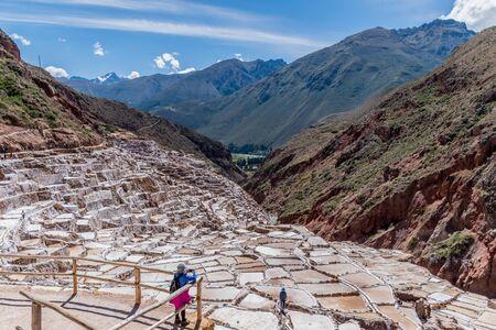 The ancient salt mines of Maras, Peru.
