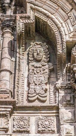 La Merced front facade detail in Cusco, Peru