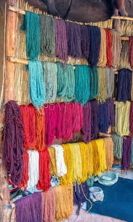 Colorful handmade textiles at the Awanacancha Textile site in Peru outside of Cusco.