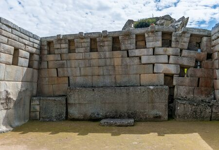 Mortar District at the Inca site of Machu Picchu in Peru. Banco de Imagens