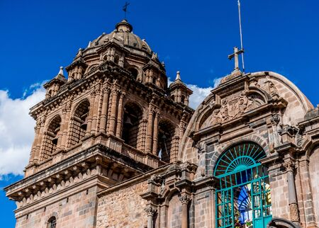La Merced colonial bell tower detail in Cusco, Peru. 스톡 콘텐츠