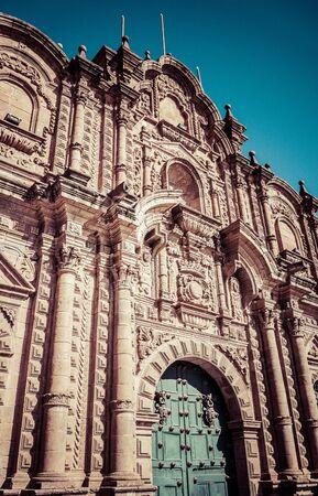 La Merced front facade in Cusco, Peru