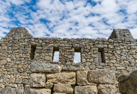 Temple of the Three Windows at the Inca site of Machu Picchu in Peru. Banco de Imagens