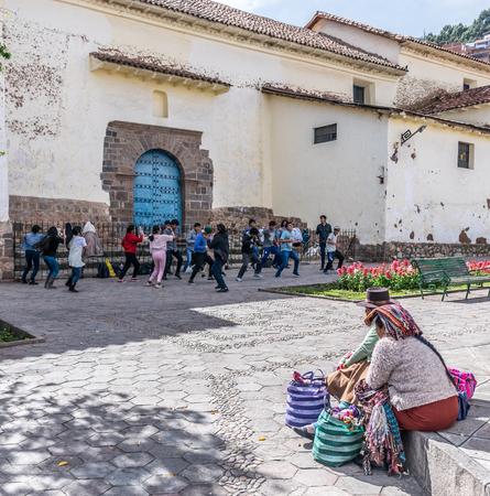 Dance performance in San Blas square in Cusco, Peru.