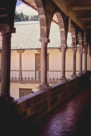 Pre Colombian Art Museum Spanish courtyard in Cusco, Peru.