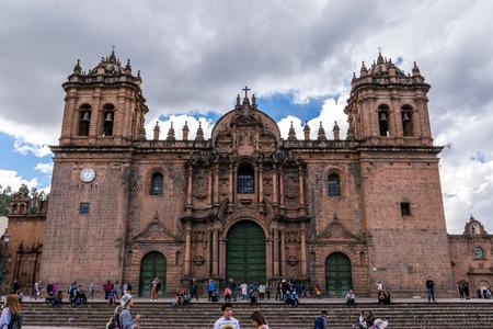 Spanish Colonial La Catedra in the Plaza De Armas in Cusco, Peru. Редакционное