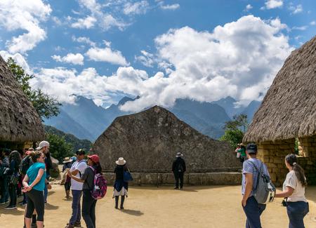 Sacred Rock at the Inca site of Machu Picchu in Peru.