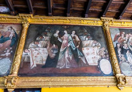 Mural at Qoricancha and Santo Domingo in Cusco, Peru. Редакционное