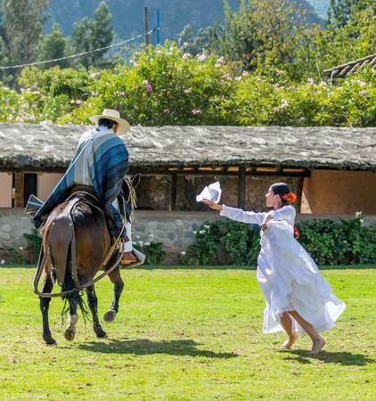 Beautiful traditional Peruvian horse and dance show performance