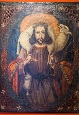 Pre Colombian Art Museum painting of Jesus in Cusco, Peru.